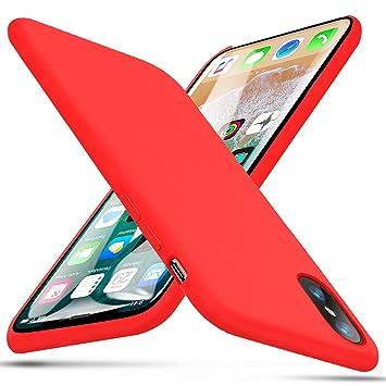 iPhone X Funda, BKSTONE Carcasa prueba de golpes de goma y gel de silicona líquida con suave microfibra Cojín forro de tela para Apple iPhone X (Rojo): ...