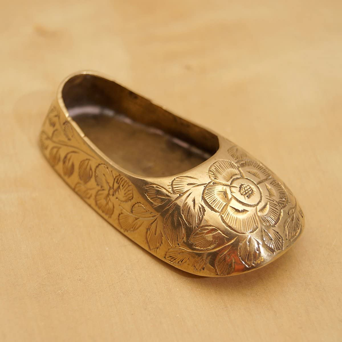 Pair of Small Indian Brass Jutti Slipper Ashtrays