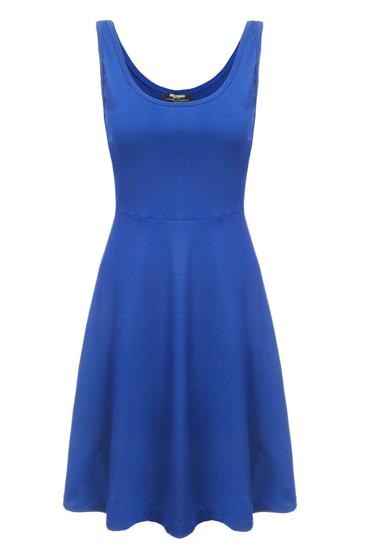 Zeagoo Damen Strandkleid Sommerkleid Trägerkleid Tank Kleid Ausgestelltes Knielang
