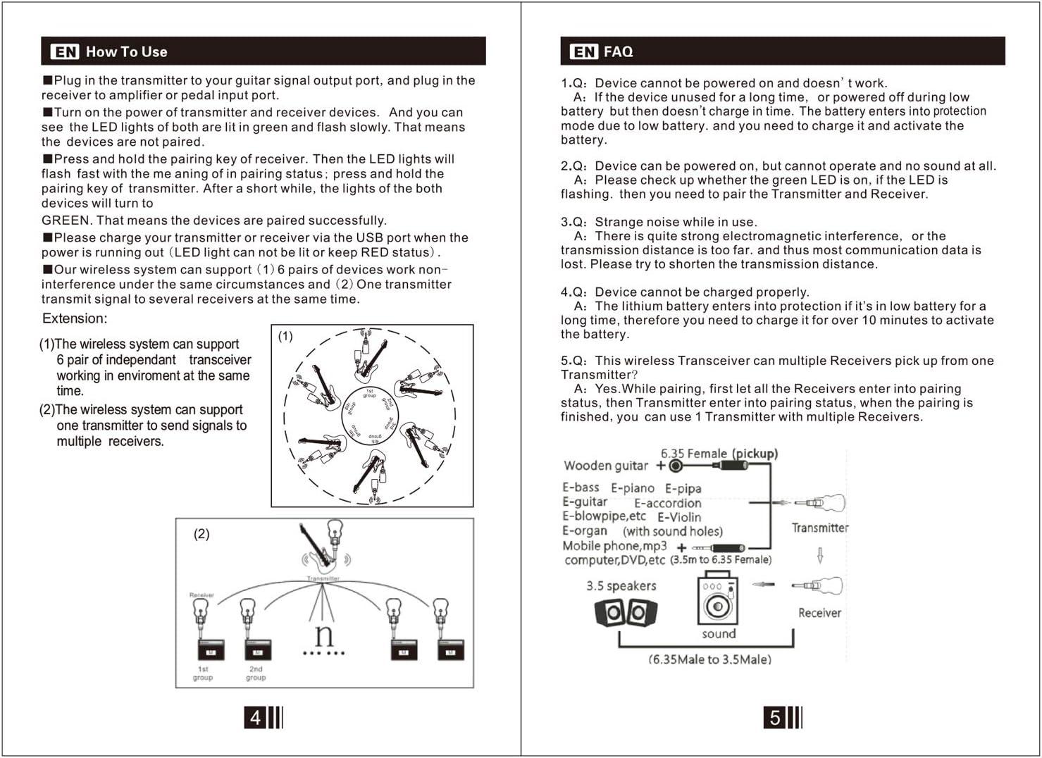 JJmooer UHF Wireless Audio Sender Empf/änger System USB wiederaufladbare Tonabnehmer f/ür E-Gitarre Bass Musikinstrument Zubeh/ör