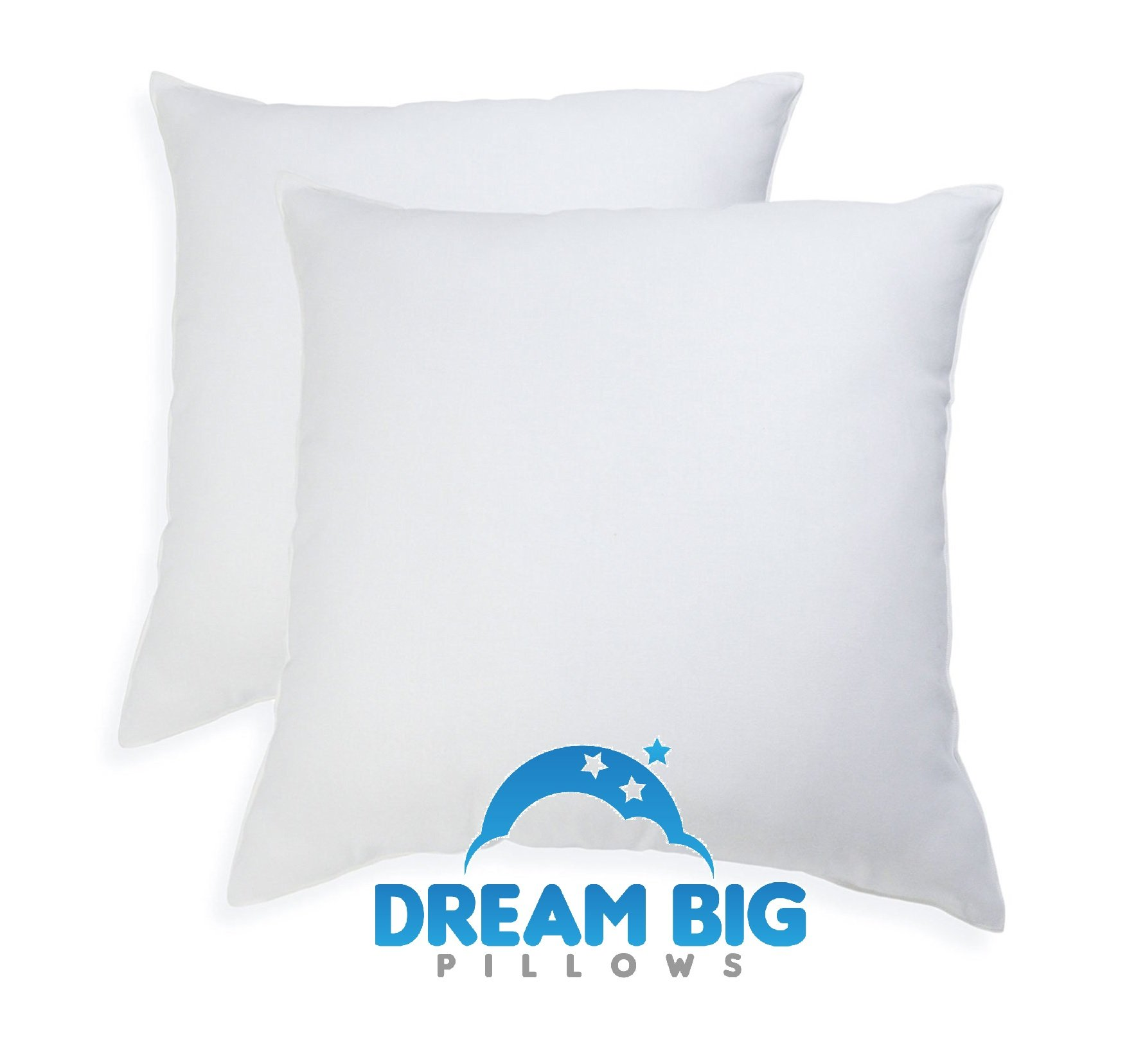 Euro Pillows Set of 2 (26 x 26 inch) Square Pillow Inserts for Decorative Bed Pillow Shams - Down Alternative, Filled in USA