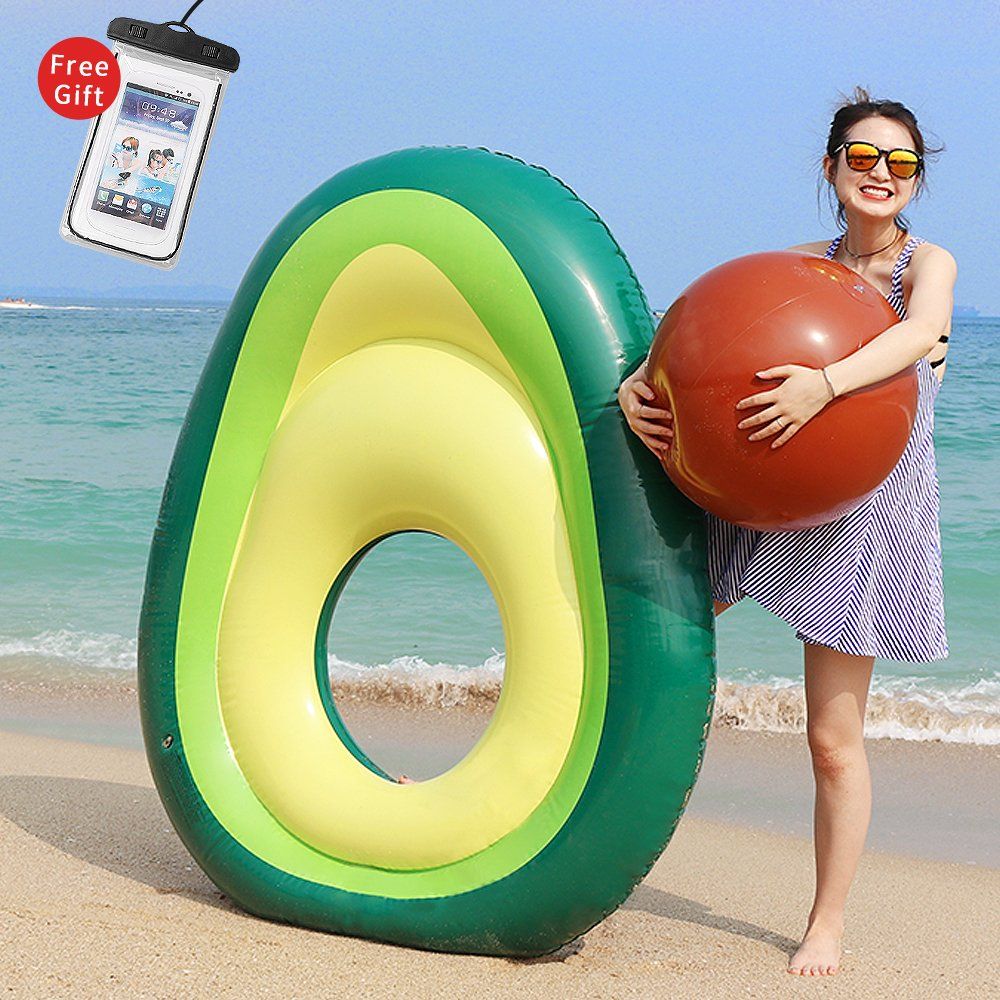 LetsFunny Avocado Pool Float Inflatable Giant Floats with Rapid Valves Pool Party Beach Swimming Raft Floaty