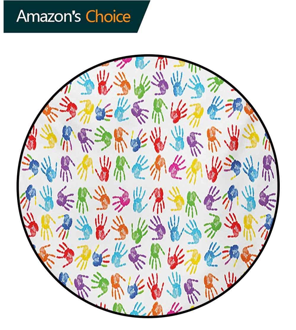 RUGSMAT Colorful Round Rug,Human Handprint Kids Watercolor Paint Effect Open Palms Collage Art Work Print Carpet Door Pad for Bedroom/Living Room/Balcony/Kitchen Mat,Diameter-39 Inch
