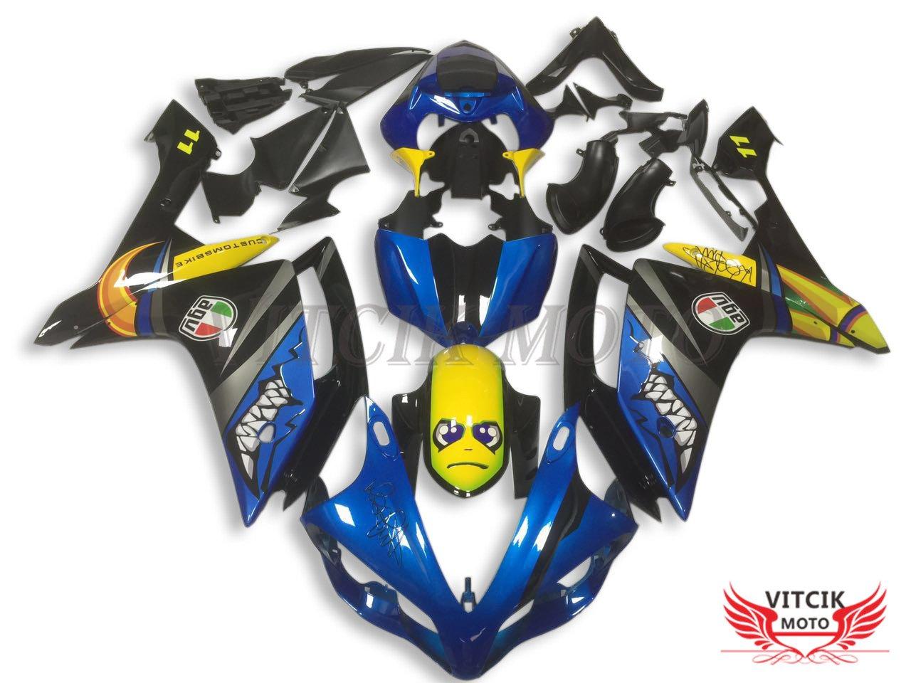 VITCIK (フェアリングキット 対応車種 ヤマハ Yamaha YZF-1000 R1 2007 2008 YZF 1000 R1 07 08) プラスチックABS射出成型 完全なオートバイ車体 アフターマーケット車体フレーム 外装パーツセット(ブルー & イエロー) A041   B075H2X85B