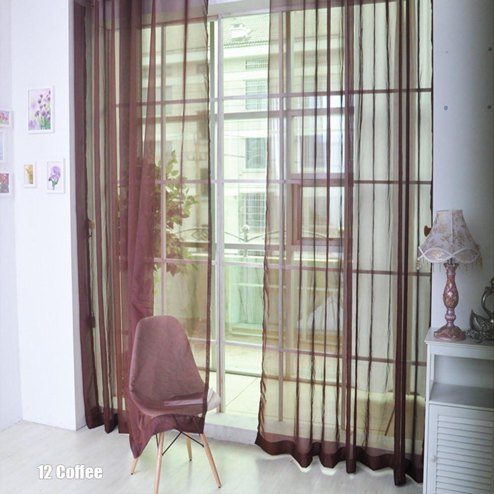 Rungao Voilage Rideau Fenetre Porte D/écoration de Maison Lumineux Filtrer Souple Demi Transparent