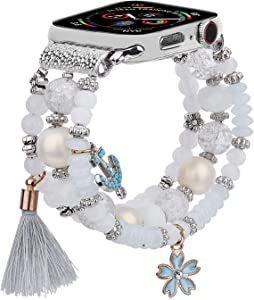 CAGOS Bracelet Beadeds Compatible with Apple Watch Band 42mm/44mm Series SE/6/5/4/3/2/1 Cute Handmade Fashion Elastic Stretch Beaded Strap Replacement with Stainless Steel Adapter for iWatch White