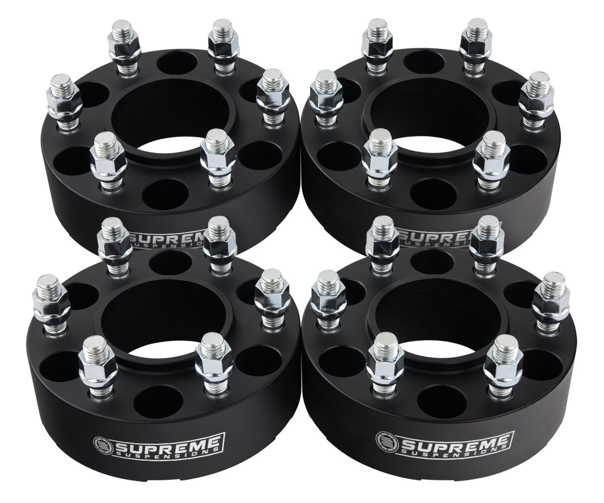 Supreme Suspensions - (4pc) 1995-2015 Toyota Tacoma PreRunner 1.5'' Hub Centric Wheel Spacers 6x5.5'' (6x139.7mm) with Lip + M12x1.5 Studs [Black]