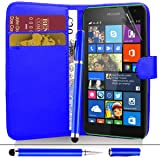 Nokia Lumia 625 - Premium Quality PU Leather Wallet Flip Case Cover Pouch + Screen Protector With Microfibre Polishing Cloth + Touch Screen Stylus Pen By CCUK