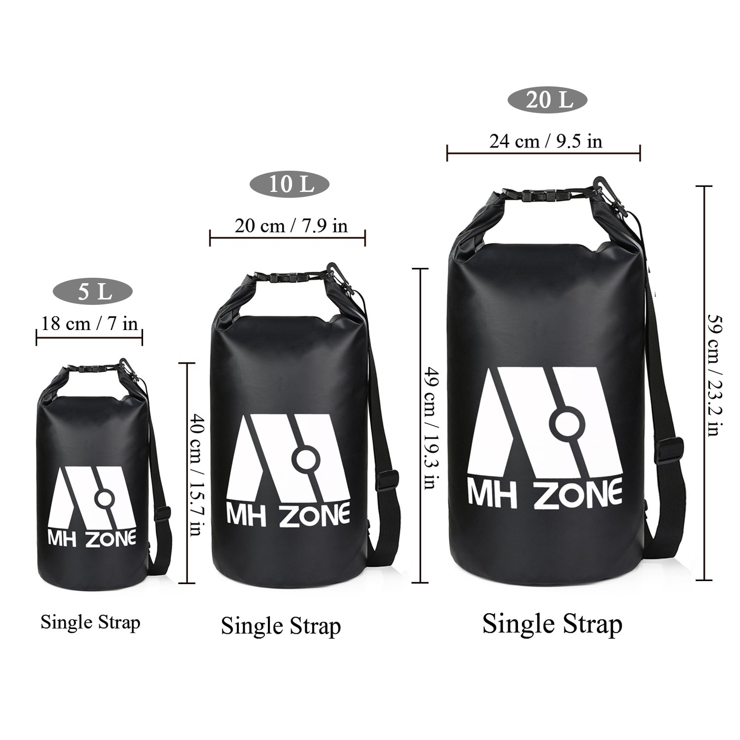 Waist Pouch /& Phone Case Detachable Shoulder Strap Fishing Kayaking M MH ZONE Rafting Swimming and Beach Swimming and Beach Fit for Boating 20L Black MH Zone Waterproof Dry Bags Set of 3