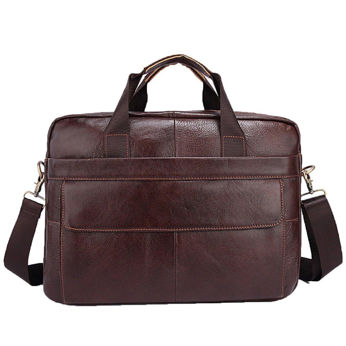 BAAFG Leather Mens Briefcase Mens Business Bag Laptop Bag Messenger Bag,Coffee
