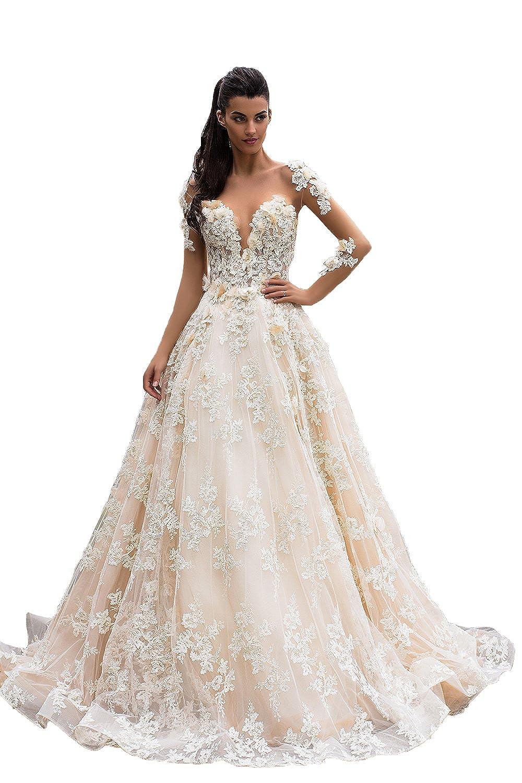 Butalways Champagne Lace Wedding Dresses Long Sleeves Bridal Wedding