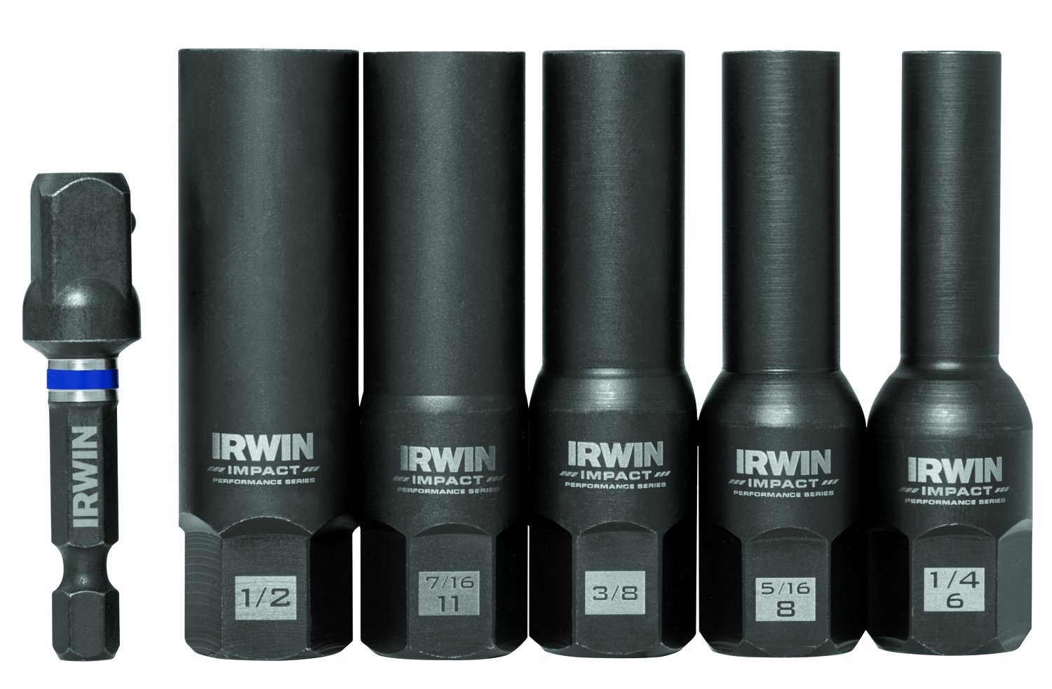 6-Piece Lug Nut Set with 1//4-Inch Hex Drive to 3//8-Inch Square Socket Adapter 1//2-Inch Square Drive 1859146 IRWIN Tools Impact Performance Series Bolt Grip Deep Well Bolt Extractors