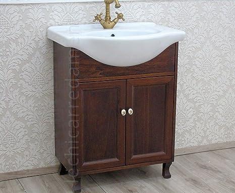 Mobile bagno 75 cm base + lavabo noce arredo bagno country: Amazon ...