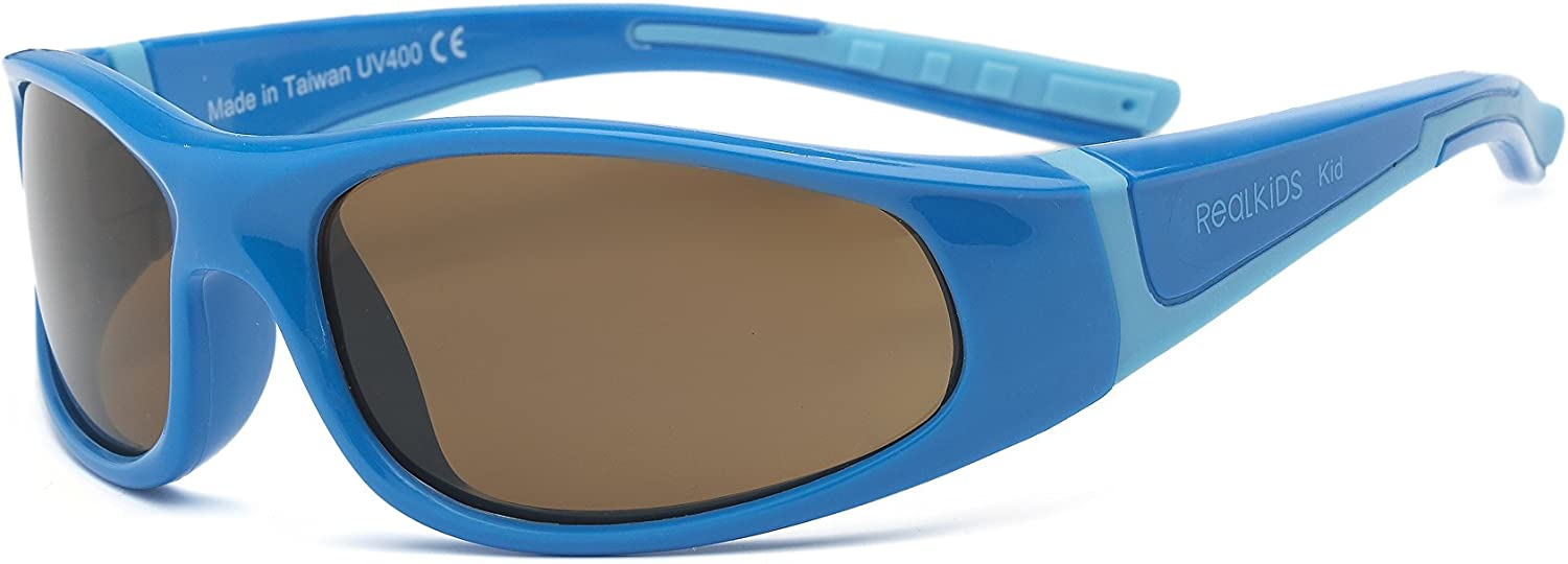 Unbreakable Real Kids Shades Bolt Sunglasses for Kid Wrap Around Frames Polycarbonate Lenses Youth 7+, Blue//Light Blue, Polarized 100/% UVA UVB Protection Youth