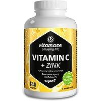 Vitamaze® Vitamina C 1000 mg + Zinc, 180 Comprimidos Vegana para 6 Meses, Reducen…