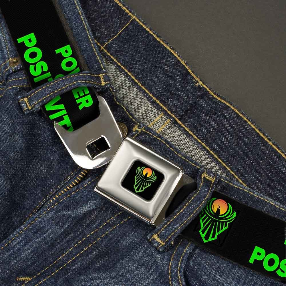 1.5 Wide The New Day Icon//POWER OF POSITIVITY Black//Green//Orange Buckle-Down Seatbelt Belt 24-38 Inches in Length