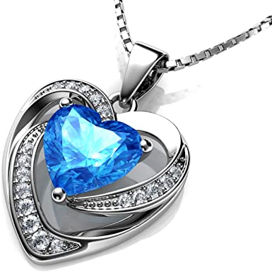 925 Sterling Silver Aquamarine Blue Cubic Zircon Crystal Heart Pendant Necklace