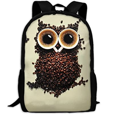 SZYYMM CustomPrinted Owl Coffee Art Oxford Cloth Fashion Backpack,Travel/Outdoor Sports/Camping/School, Adjustable Shoulder Strap Storage Backpack For Women And Men