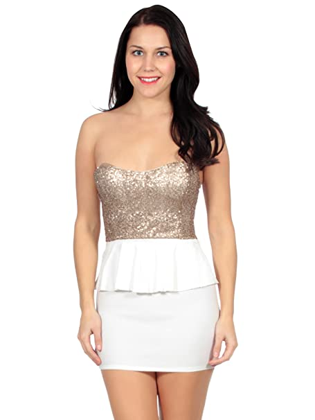 13933339 Simplicity Glam Party Dress w/a Shimmering Strapless Top and Fitted Mini  Skirt White