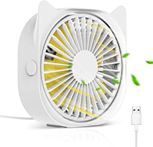 HOISTAC Personal Mini USB Fan For Desk 4-inch, 3-speed Adjustable Strong Wind, And Super Quiet Portable, 360-degree Free Rotating Fan, Can Be Used For Home, Desk, Office, Computer, Car,Outdoor Travel.