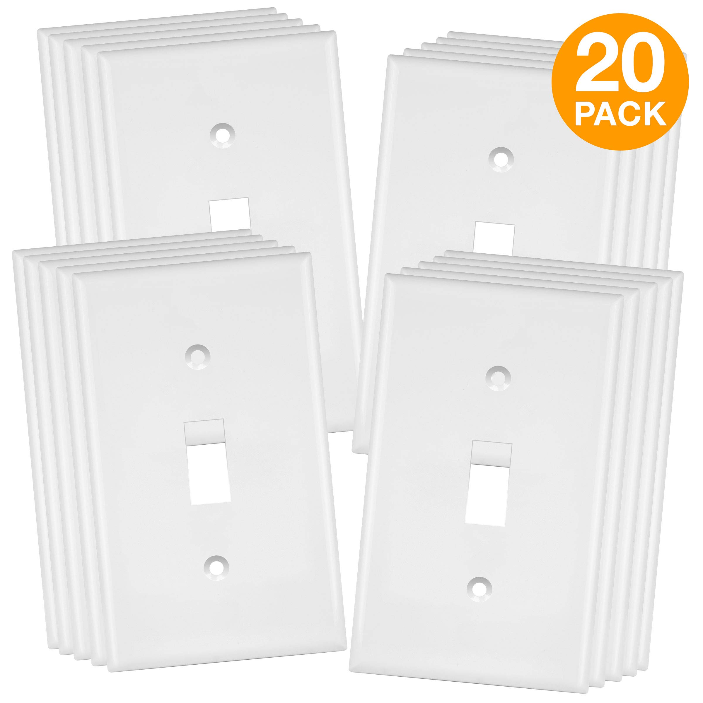 ENERLITES Toggle Light Switch Wall Plate, Mid-Size 1-Gang 4.88'' x 3.11'', Unbreakable Polycarbonate Thermoplastic, UL Listed, 8811M-W-20PCS, White (20 Pack)
