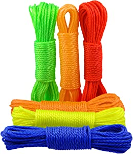 QY 6Bundles Strong Polypropylene Washing Line Heavy Duty Clothes Hanger Rope String Line Clothesline Bright Colors, 32.8Ft Each