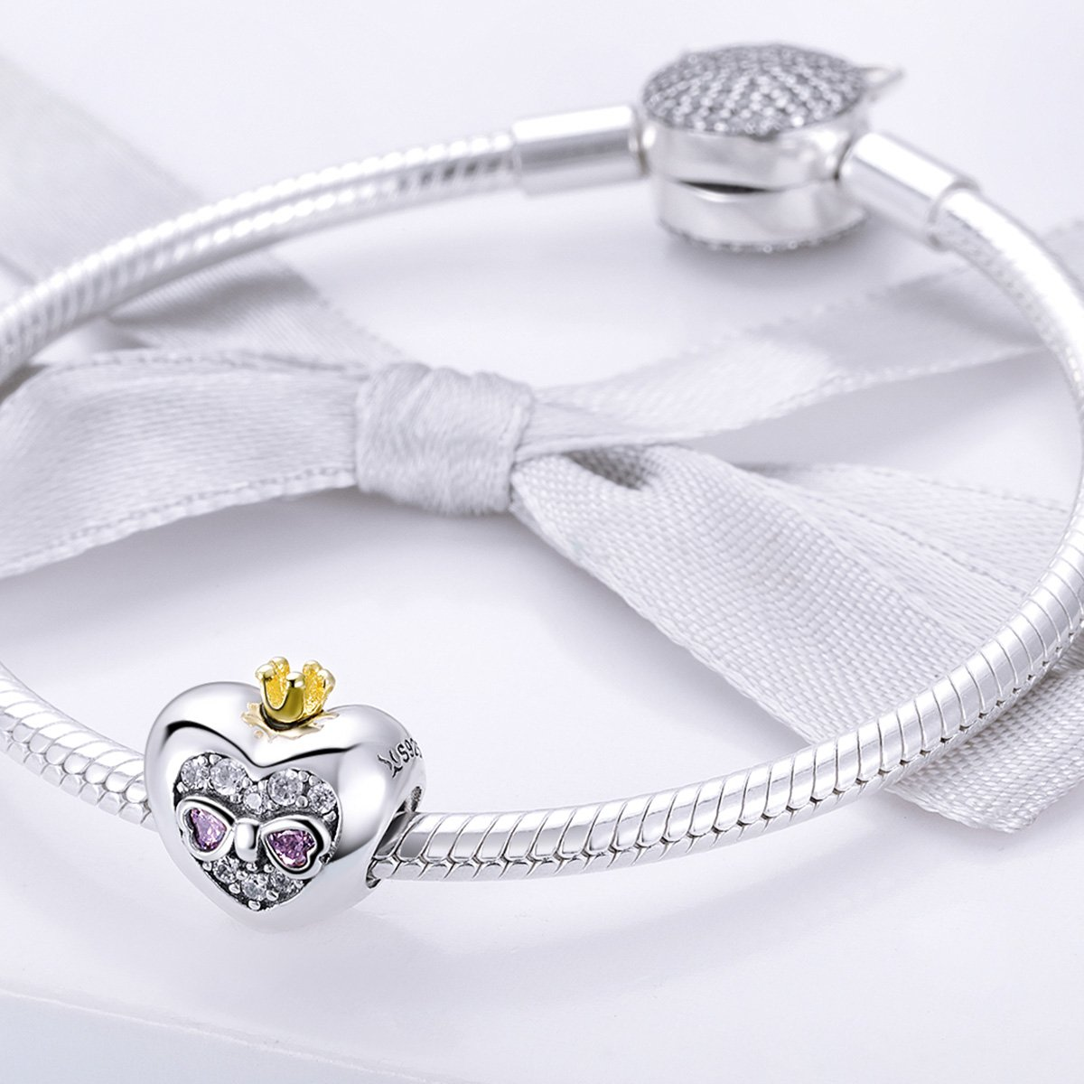 BAMOER Sterling Silver Heart of Princess Love CZ Bead Charm for DIY Snake Chain Bracelet by BAMOER (Image #3)