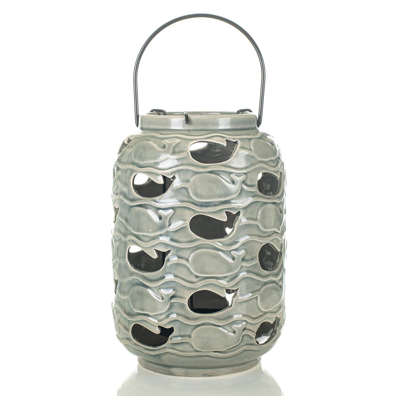 Drew DeRose Glossy Gray Nautical Whale 9 x 5 Ceramic Tabletop Lantern With Handle