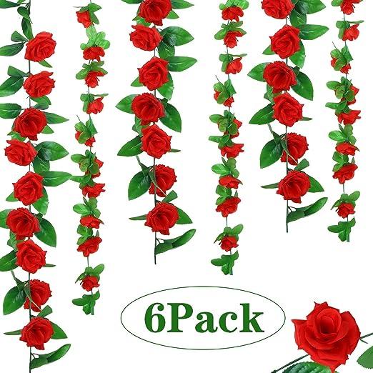 WILLBOND 6 Piezas de Vides de Rosa Artificial Guirnaldas de Flor de Seda Plantas Colgantes para Decoración de Hogar al Aire Libre Boda Arco Jardín Pared, 2 Estilos: Amazon.es: Hogar