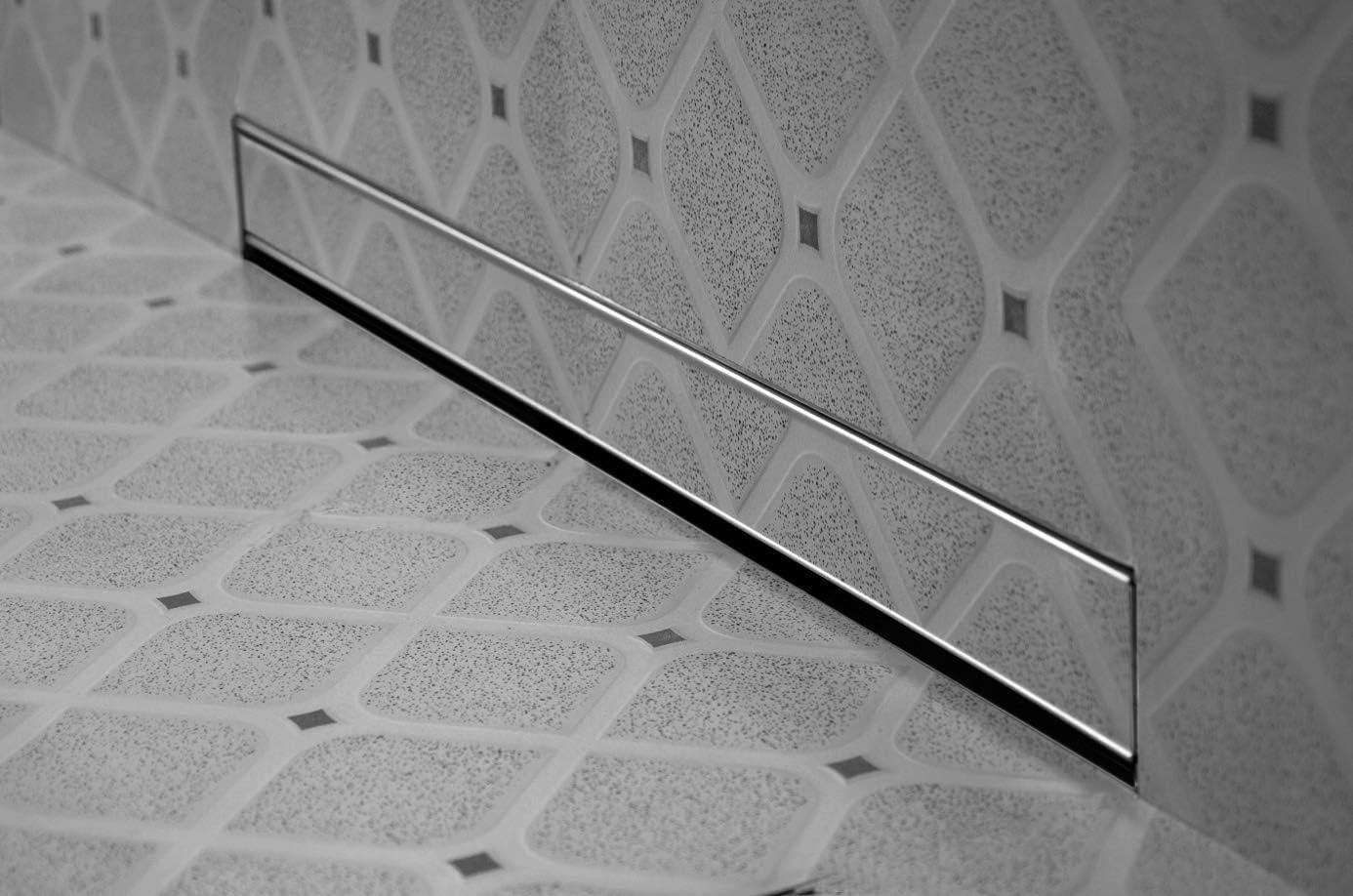 Plateado desag/üe para desag/üe de ba/ño VBChome Desag/üe de pared para ducha con sistema de autolimpieza sif/ón con parada de olores juego completo tama/ños 60-100 cm