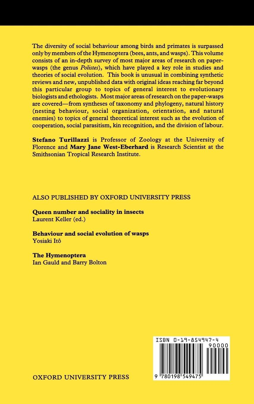 Natural History and Evolution of Paper-Wasps (Oxford Science Publications) by Brand: Oxford University Press, USA (Image #2)