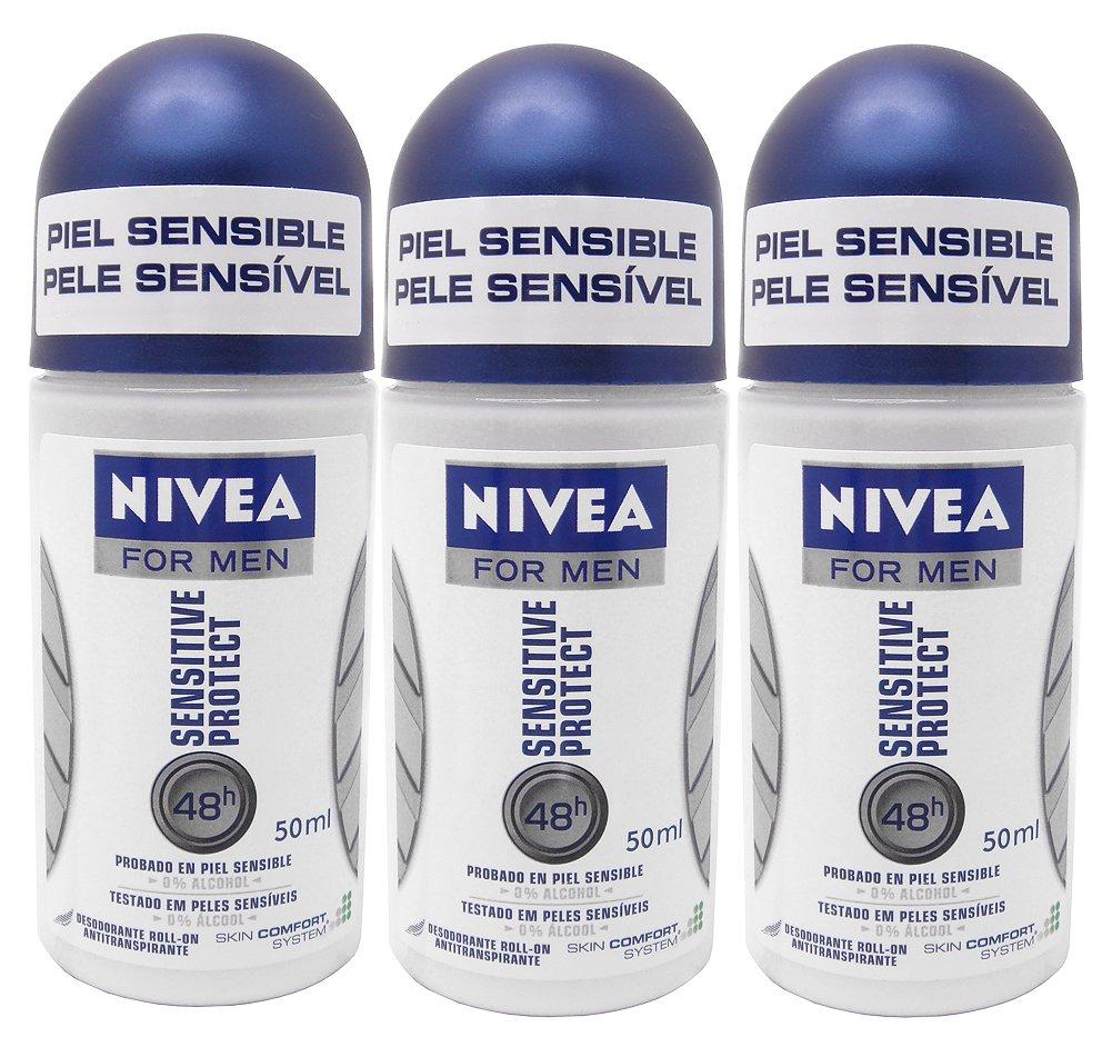 Nivea for Men Sensitive Protect 48 Hr. Anti-perspirant Roll-on Deodorant. 50 Ml. (Pack of 3)