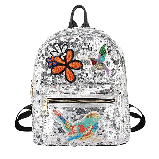 981ad05c6bb5 Candice Women Shiny Sequins PU Leather Shoulder Bag Satchel Backpack School  Bag
