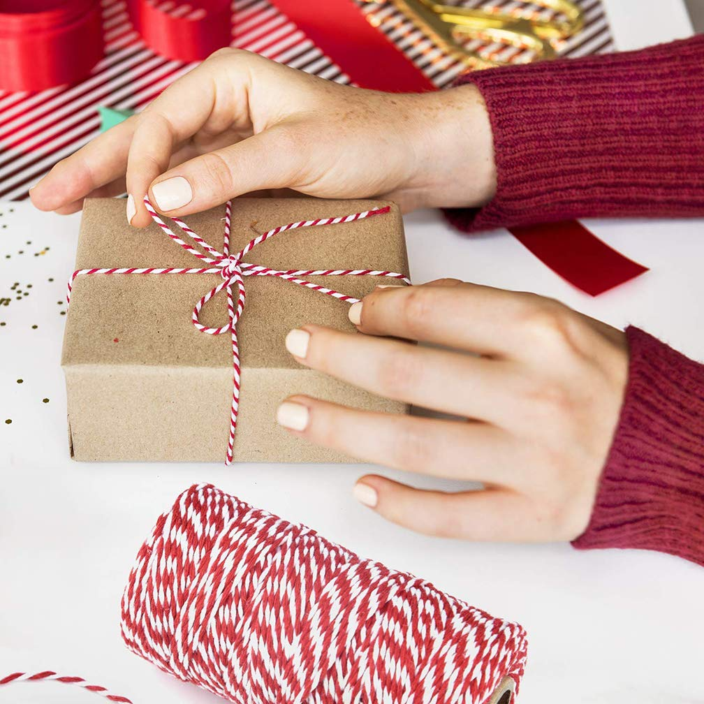 Syolee Christmas String 200 Meters Twine String Durable Cotton Bakers Twine Heavy Duty Cotton Crafts Twine 2mm for Christmas Packing Twine String Decorations Red and White