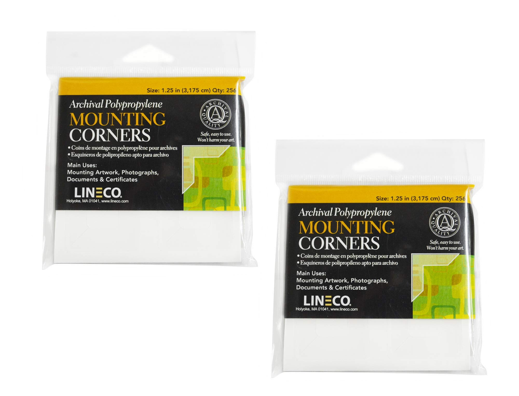 Lineco Self-Adhesive Polypropylene Mounting Corners - 1.25'' Clear (256/Pkg.) Full View, Pack of 2