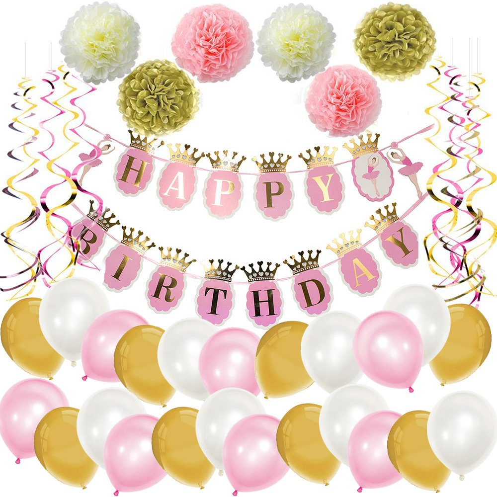 Mainiusi Happy Birthday Decoration Party Suppiles Pack for Adults Girl Kid Pink Gold 47pcs Set Banner Balloons Paper Pompoms Flowers Hanging Swirl Decor Favors Baby Shower First Birthday