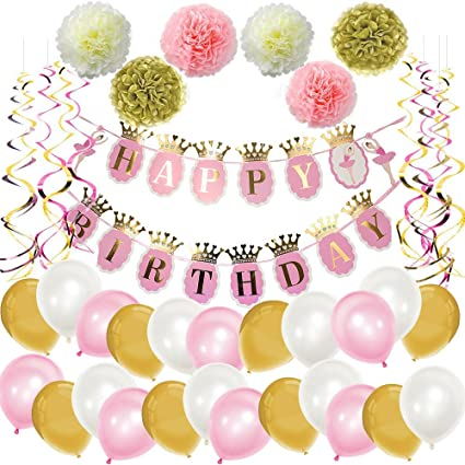 Mainiusi Happy Birthday Decoration Party Suppiles Pack For Adults Girl Kid Pink Gold 47pcs Set Banner