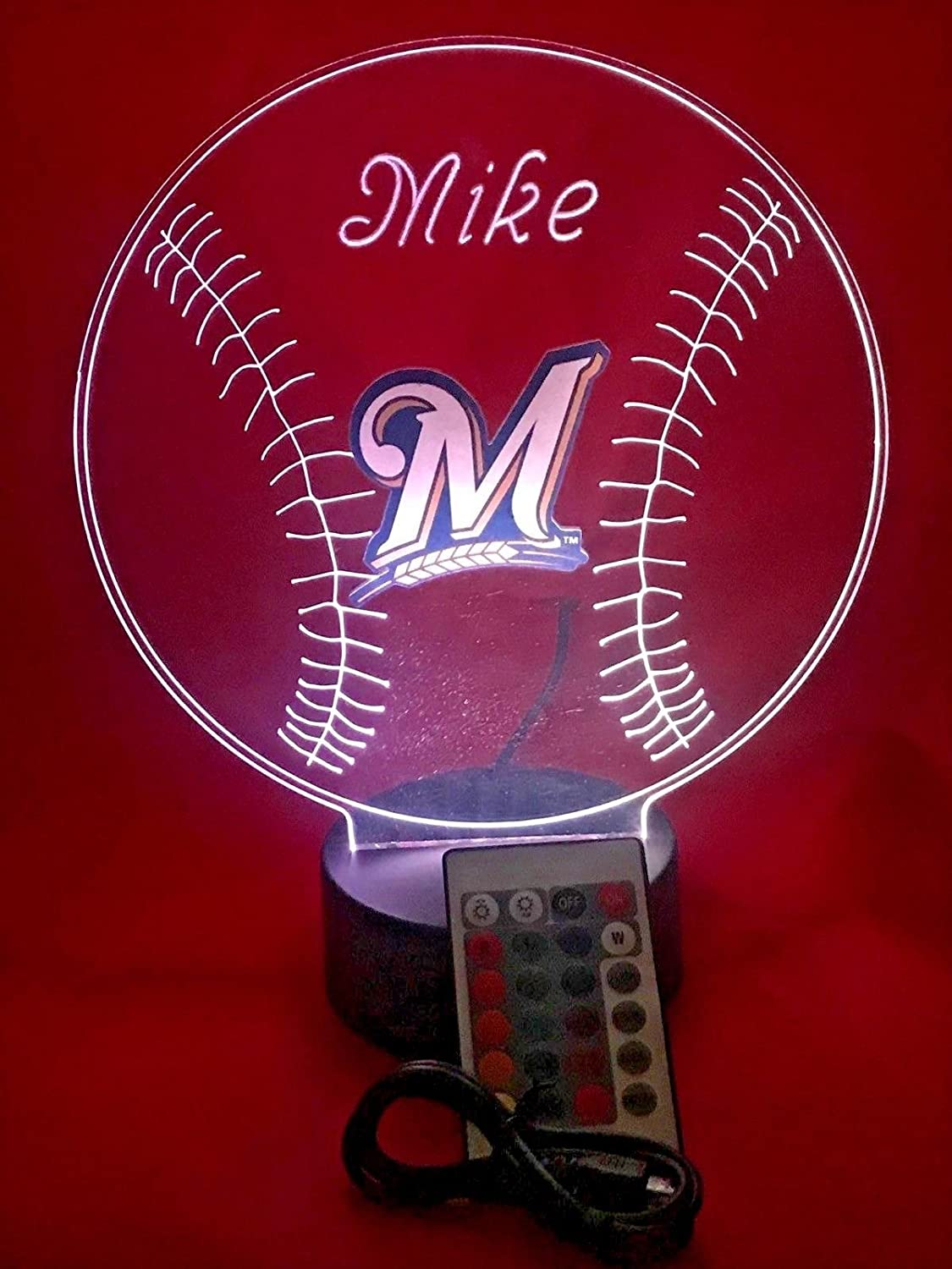 Brewers MLB Light Up Lamp LED MLB Baseball Personalized Light Up Table Lamp, Our Newest Feature – It s Wow, with Remote 16 Color Options, Dimmer, Free Engraving, Great Gift
