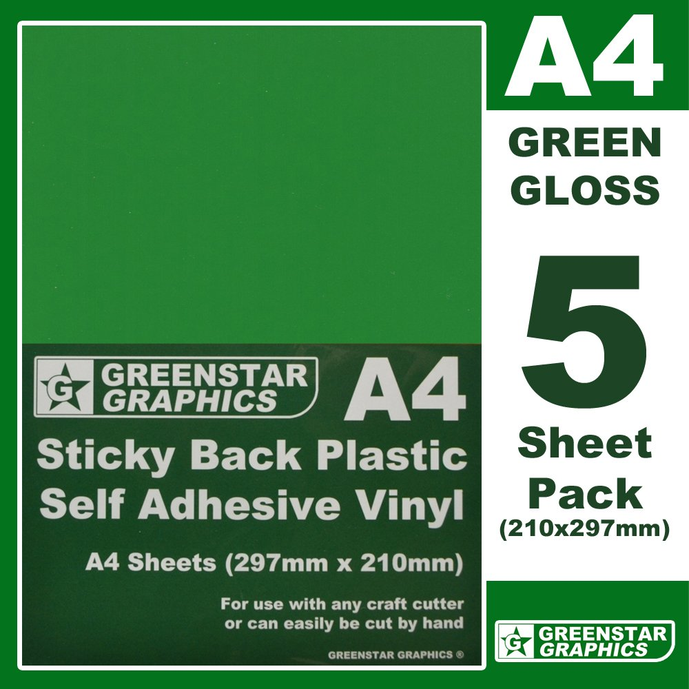 GREENSTAR GRAPHICS ® 5 SHEET PACK - A4 Sticky Back Plastic (self adhesive vinyl) Great for hobbies and crafts. Use with silhoutte cameo / curio / portrait craft cutters / scan n cut / craft robo (A4 BLACK MATT x 5)