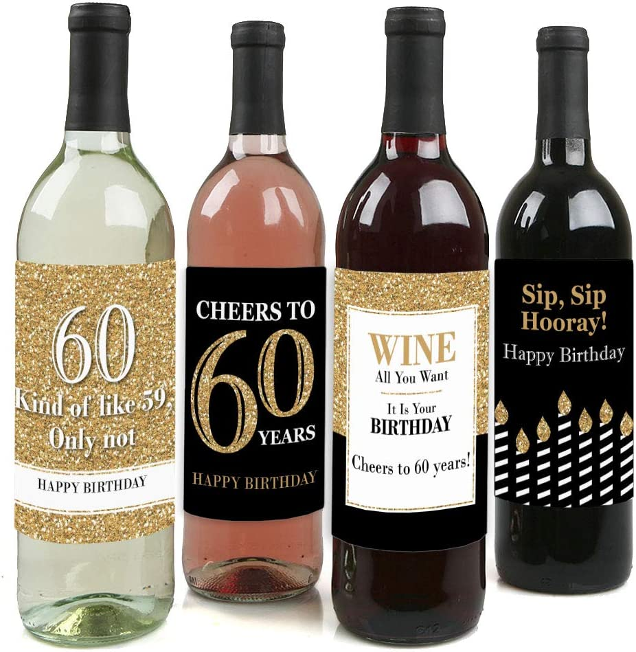 Glass and Gift Bag Male Wine Bottle 60th Birthday Card