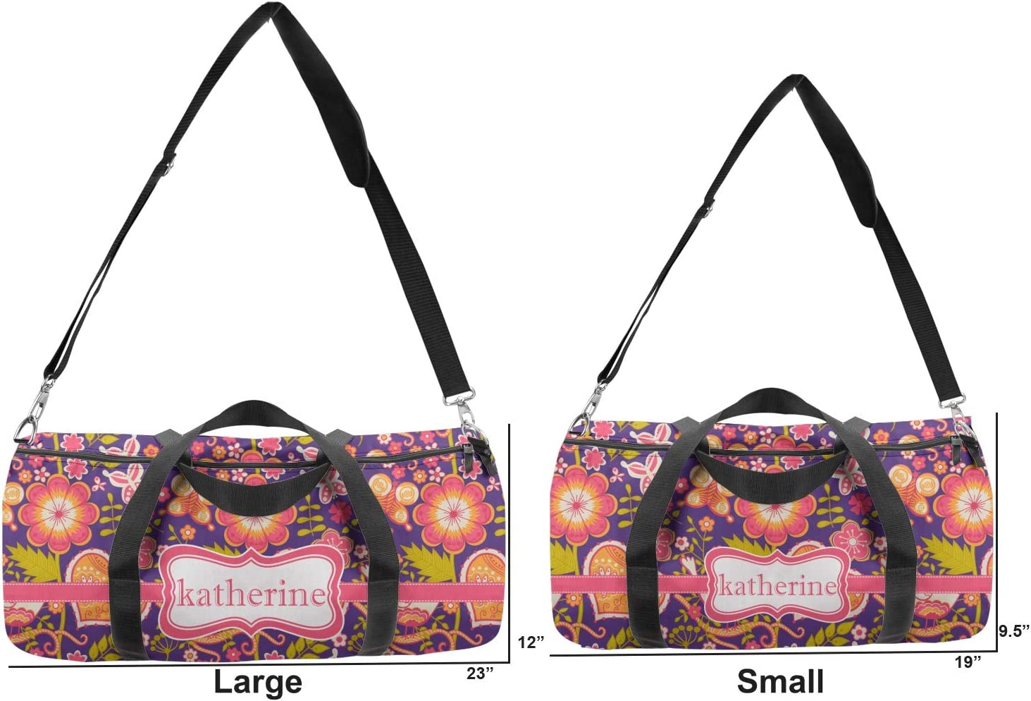 Personalized YouCustomizeIt Birds /& Hearts Duffel Bag