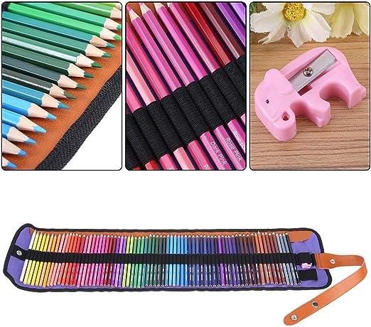 HEEPDD Juego de 72 lápices de Colores, Paquete de 72 Colores Surtidos lápices de Arte para Estudiantes Escolares con Estuche para lápices y Juego de sacapuntas para Dibujar para Colorear para Adultos: