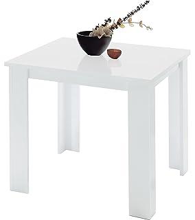 Tavolo da pranzo allungabile in legno e metallo da cucina bianco ...