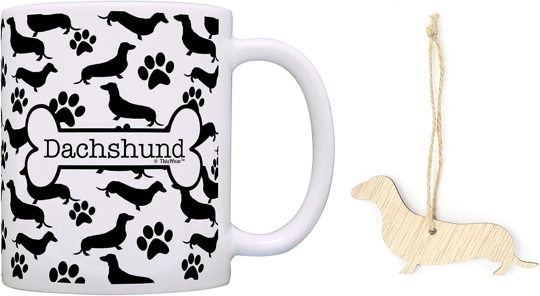 Dachshund Christmas Ornament & Dachshund Coffee Mug Tea Cup Bundle Dog Lover Stocking Stuffer