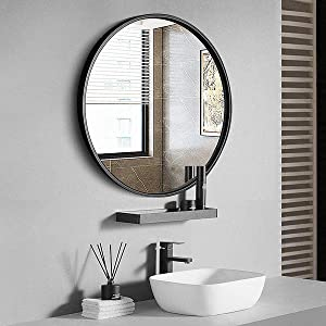 """TinyTimes 27.56"""" Modern Large Round Mirror, Black Round Wall Mirror, Brushed Framed, Circle Metal Mirror, Home Decor, for Bathroom, Living Rooms, Entryways"""