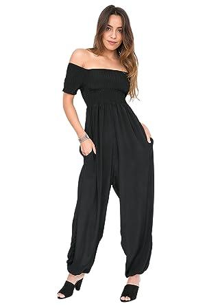 8af70d9e5f Amazon.com  likemary Silk Look Off Shoulder Harem Jumpsuit Black  Clothing
