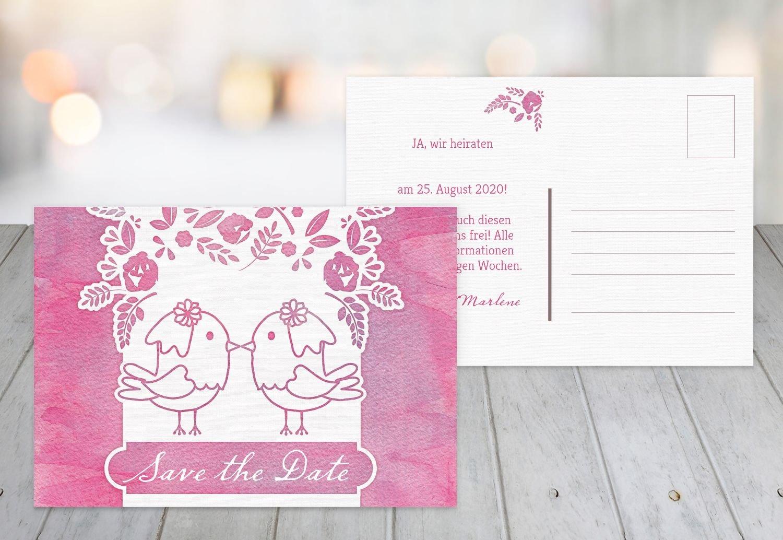Save-the-Date Vogelpaar - Frauen, 80 Karten, MattGrün B07B6MVH5C | Verkauf Online-Shop  | Online Kaufen  | Große Auswahl