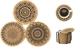 Coasters for Drinks,12 Pieces Cork Coasters for Drinks Absorbent,New Home Present for Friends,Living Room Decor,Apartment Decor,Non-Slip,Anti-Scalding