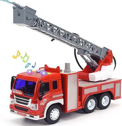 Juguete De Camión De Bomberos Con Luces Y Sonidos 10 5 Pulgadas De Fricción Con Bomba De Agua Sirenas Y Escalera Extensible Camión De Juguete Para Niños Pequeños Escala 1 16 Toys
