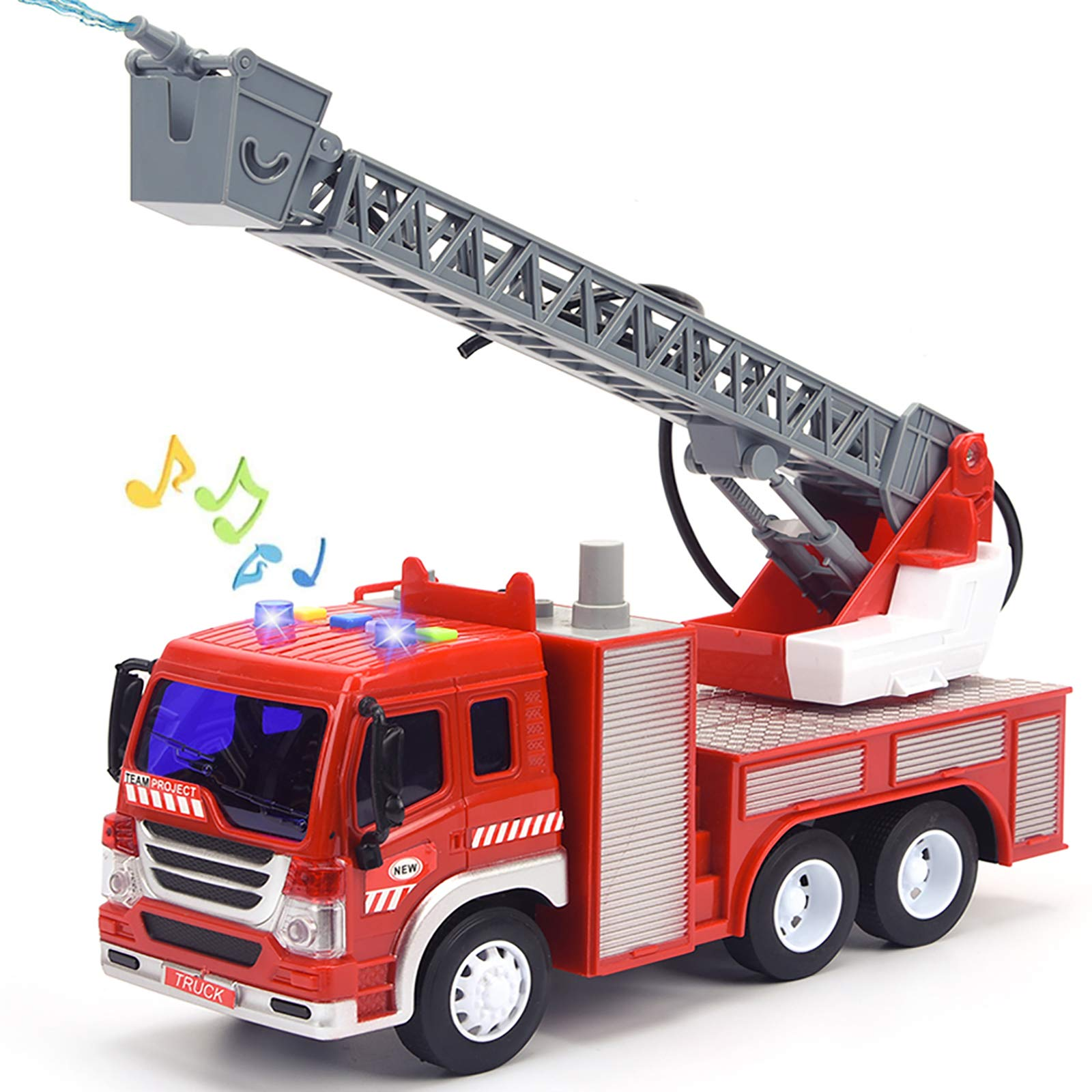 "Fire Truck Toy with Lights and Sounds, 10.5"" Friction Powered Car Fire Engine Truck with Water Pump, Sirens and Extending Ladder Firefighter Toy Truck for Toddler, 1:16 Scale Toy Car"